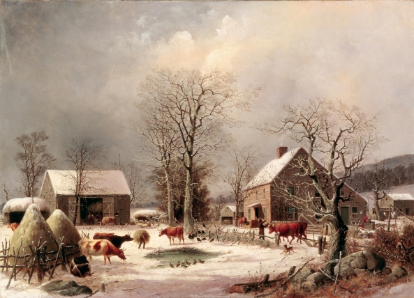 Farmyard_in_Winter_by_George_Henry_Durrie,_1858